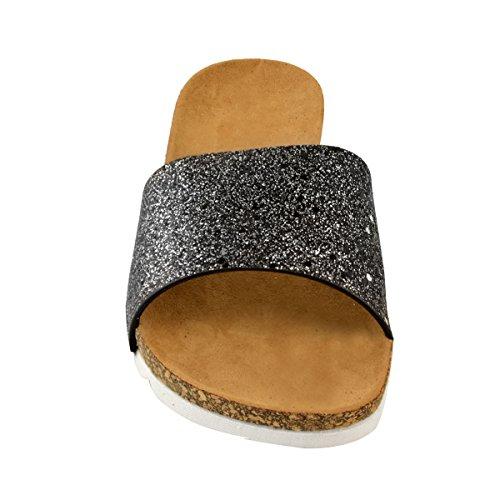 Paillettes Femme Claquettes Été Thirsty à Paillettes Fashion Plates Style Noires B8xv6nU