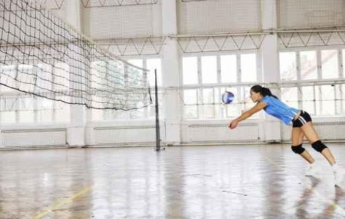 Leisure Wall Decals Girls Playing Volleyball Indoor Game - 30 inches x 19 inches - Peel and Stick Removable Graphic