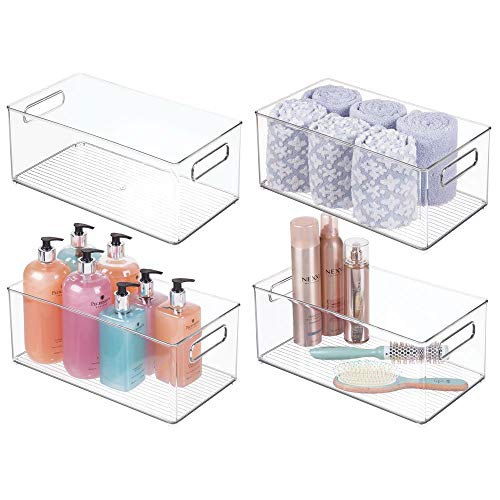 mDesign Stackable Deep Plastic Storage Bin Tote with Handles for Organizing Cosmetics, Makeup Palettes, Body Wash, First Aid, Vitamins, Supplements, Hair Styling Accessories, 4 Pack - Clear
