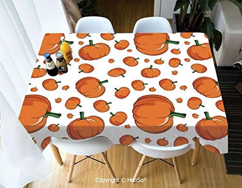 Printed Table Cloth, Rectangle Table Cover in Washable Polyester for Parties, Holiday Dinner, Wedding & More,Harvest,Halloween Inspired Pattern Vivid Cartoon Style,60