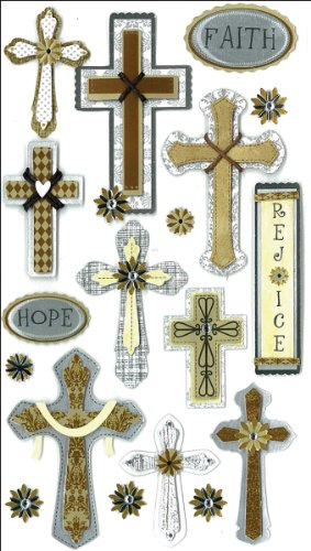 Jolee's Boutique 50-50335 Sticker 3D Faith Hope Rejoice (Faith Crosses By)