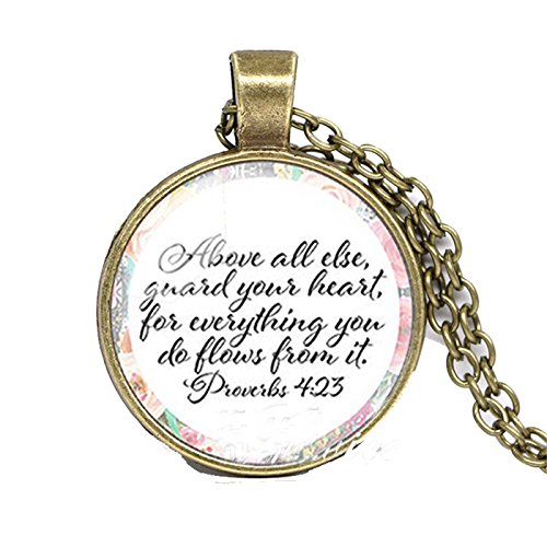 She is clothed with Strength and Dignity Necklace Proverbs Bible Verse Christian Quote Necklace Faith Gifts E2 -