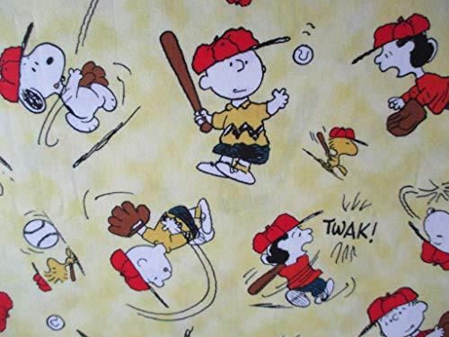 Snoopy Peanuts All Stars yellow 45cmx110cm:スヌーピー、ピーナッツ、野球