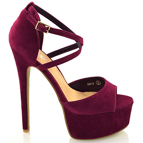 Alla Con Peep Plum 5 Stiletto Suede Womens 6 Strappy 7 Caviglia Platform Toe Taglia Ladies 4 8 Scarpe Sandalo Cinturino 3 zqq0xwSH