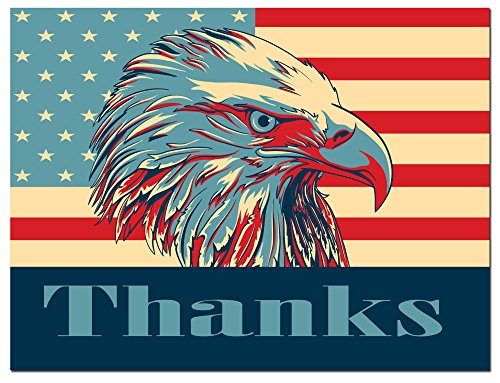 - Thank You Cards - USA - American Flag - Bald Eagle - Patriotic - Blank on the Inside - Includes Cards and Envelopes - 5.5