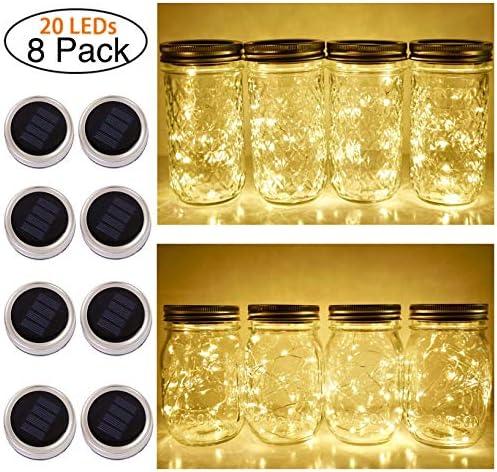 Solar Mason Jar Lid String Lights, 8 Pack 20 Led String Fairy Star Firefly Jar Lids Lights Jars Not Included , for Mason Jar Patio Garden Wedding Lantern Table Decoration No Hangers Warm Wite