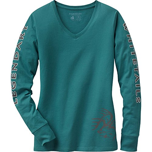 Legendary Whitetails Women's Cotton Non-Typical Long Sleeve T-Shirt (Colonial Blue, 1X)