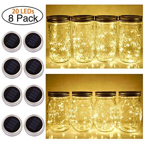 Solar Mason Jar Lid String Lights, 8 Pack 20 Led
