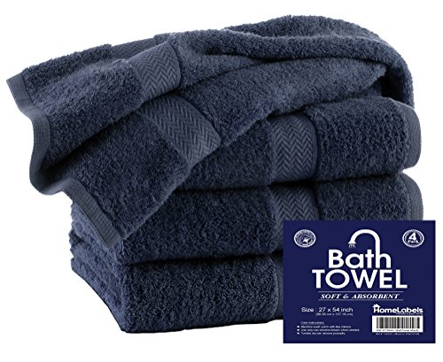 HomeLabels Premium 100% Cotton Grey Bath Towel Set  Lightwei