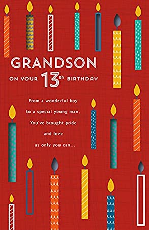 Grandson 13th birthday card amazon office products grandson 13th birthday card bookmarktalkfo Image collections