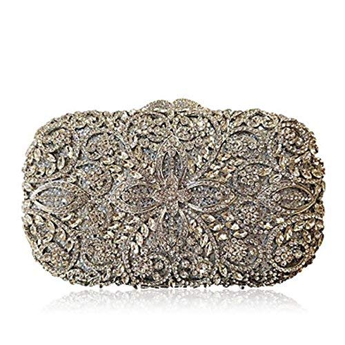 (YOUTO Evening Party Clutch Bags Women Evening Bag Metal All Seasons Casual Event/Party Wedding Minaudiere Metallic Crystal/Rhinestone Magnetic Handbag Clutch More Colors (Color : Silver))