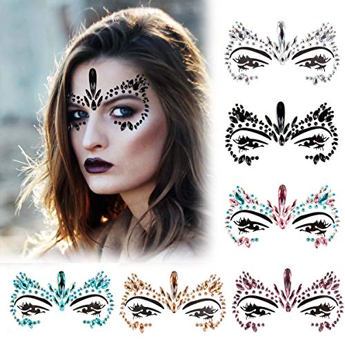 Face Jewelry Stickers, Kapmore 6 PCS Mermaid Face Jewelry Fashionable Removable Rhinestone Tattoo Face Gem Jewel Sticker for Valentine's Day Costume Party (Style 1)]()