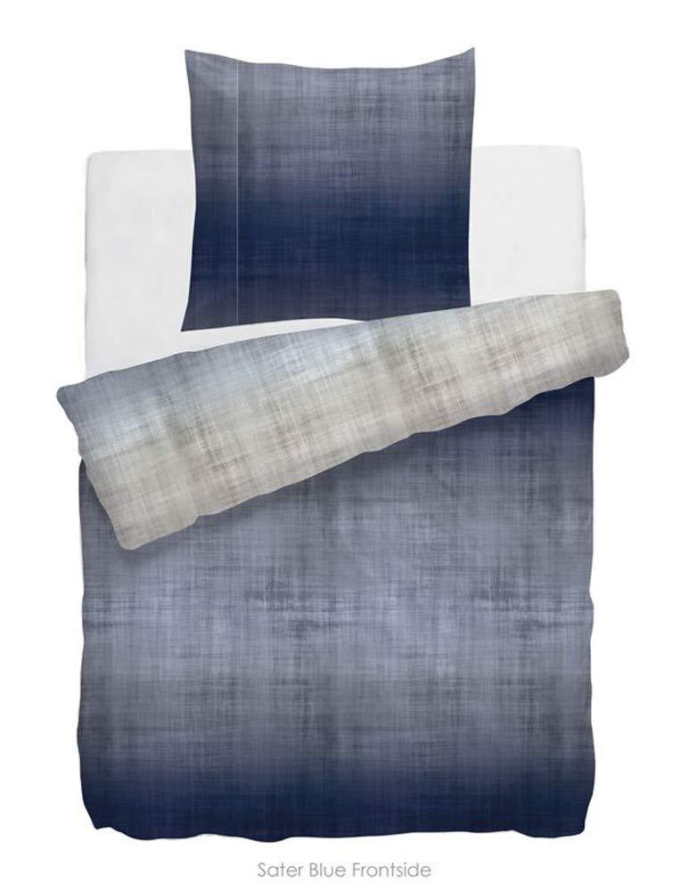 NHL HNL Living Velvet Touch Sater Mako-Satin-Bettwäsche Blau 135x200 + 80x80