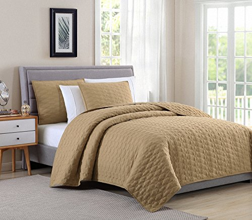Bourina Reversible Quilt Coverlet Set Queen - Microfiber Lightweight Bedspread 3-Piece Quilt Set, Gold, By by Bourina