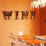 Monogram Wine Cork Holder with Chalk Board Wine Charms Gift Set W-I-N-E Metal Letters for Wall