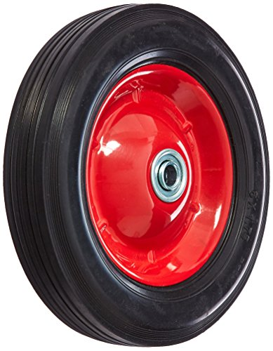 Shepherd Hardware 9636 8-Inch Semi-Pneumatic Rubber Tire, Steel Hub with Ball Bearings, Ribbed Tread, 1/2-Inch Bore Centered Axle (Ribbed Pneumatic)