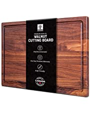 Mevell Large Walnut Wood Cutting Board - 17x11 with Juice Drip Groove Big American Hardwood Chopping and Carving Countertop Block