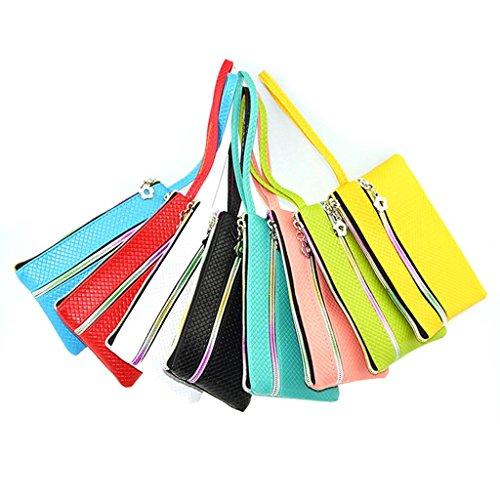 HuntGold 1 X Frauen Tragbare PU-lederne Mappe Doppel-Reißverschluss Geldbörse-Webart-Telefon-Handtasche (grün)
