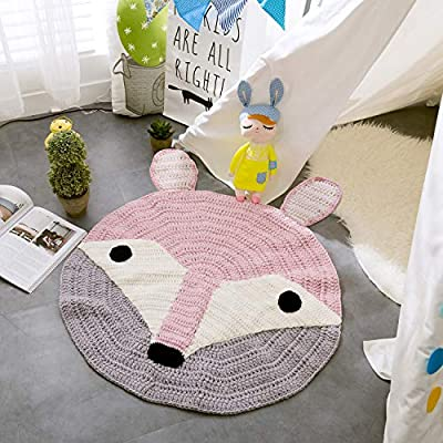 Cartoon Animal Round Kids Rugs Knitted for Children Boys and Girls, Baby Crawling Play Mat Playroom Bedroom 32 inch (Pink Fox): Kitchen & Dining