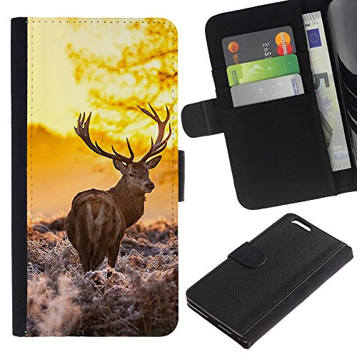 EuroCase - Apple Iphone 6 PLUS 5.5 - Majestic Morning Stag - Cuir PU Coverture Shell Armure Coque Coq Cas Etui Housse Case Cover