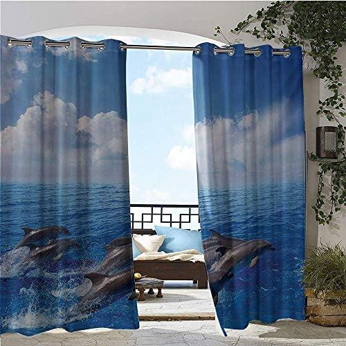 GUUVOR - Cortinas exteriores/exteriores, delfines saltando en mar transparente y nubes esponjosas en la fotografía de la vida marina del cielo, para bloquear la luz del patio, cortinas, a prueba de agua,