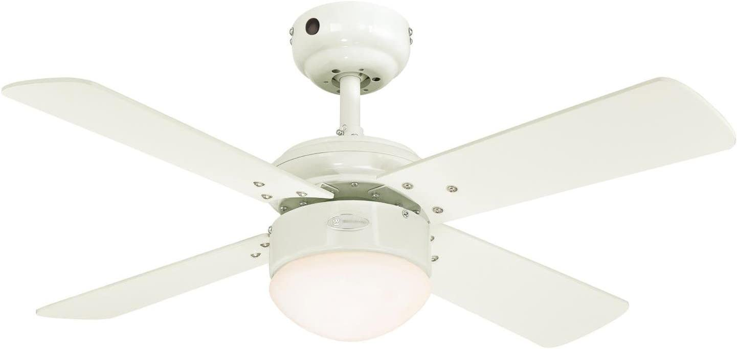 Westinghouse Lighting Colosseum Ventilador de Techo Integrado, 17 W, Blanco/Arce Claro, 90 x 90 x 38 cm