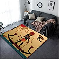 Vanfan Design Home Decorative 122013538 Religion of Ancient Egypt The gods of ancient Egypt - Aten and Ra Ra in the solar bark Modern Non-Slip Doormats Carpet for Living Dining Room Bedroom Hallway