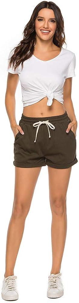 AvaCostume Womens Plus Size Summer Drawstring Elastic Waist Beach Casual Cotton Shorts