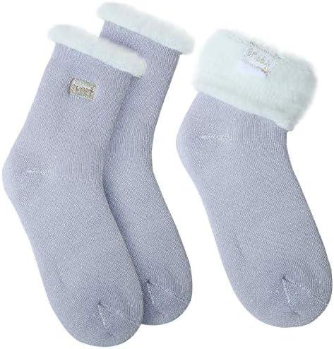 JARSEEN 2 Pares Calcetines de Lana Térmicos de Invierno Bordado Lindo Super Calor Gruesa Calentar Suave Cómodo Calcetines de Mujer