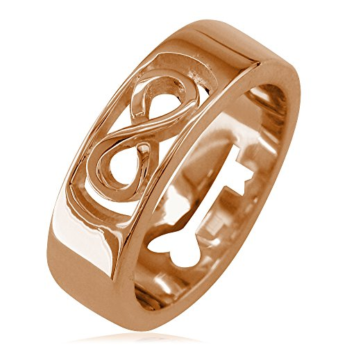 Mens or Womens Infinity and Key Wedding Band, 5.5mm in 18k Pink, Rose Gold - size - Rose Tiffany Gold Key