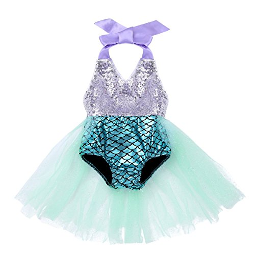 CHICTRY Baby Girls Little Swimmable Mermaid Princess Bikini Tutu Romper Dress up Costumes (12-18 Months, Blue) -