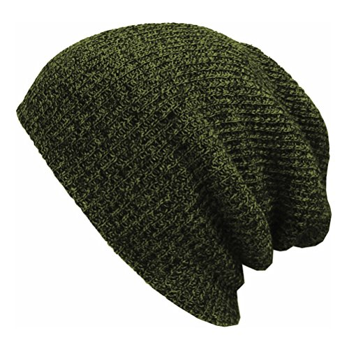 (PIXNOR Men's Wool Blend Knit Beanie Hat Slouchy Winter Hats (Army Green))