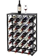 32 Bottle Wine Rack with Iron Table Top, SortWise Wine Bottle Holder Storage Organizer Display Shelf, Black
