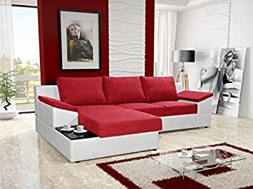Incredible Orpheus Red And White Faux Leather Fabric Large Corner Sofa Caraccident5 Cool Chair Designs And Ideas Caraccident5Info
