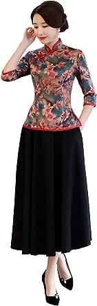 Shanghai Story Faux Silk Cheongsam Top Qipao Shirt Chinese Blouse with Black Linen Skirt