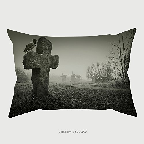 Custom Microfiber Pillowcase Protector Scary Background For Halloween Old Grave With A Cross And The Raven 152362508 Pillow Case Covers (Scooby Doo Halloween Kiss)