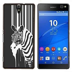 YiPhone /// Prima de resorte delgada de la cubierta del caso de Shell Armor - B & W Zebra - Sony Xperia C5 Ultra