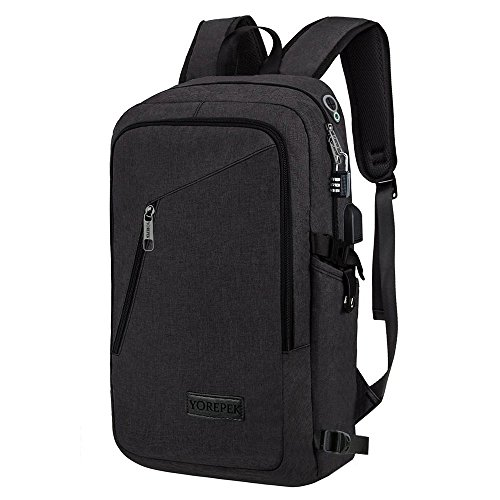 Yorepek A-001 Slim Laptop, Business Computer Bag with Headphone Port, Anti Theft Travel Backpacks with Usb Charging Hole for College, Fits 15/15.6'' Laptop/Notebook, Black