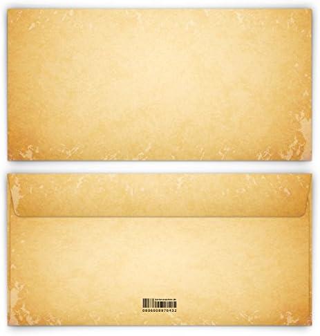 Briefumschläge 10 Stück DIN-Lang - Vintage für Einladungskarten alt Kuvert Briefumschlag selbstklebend ohne Fenster
