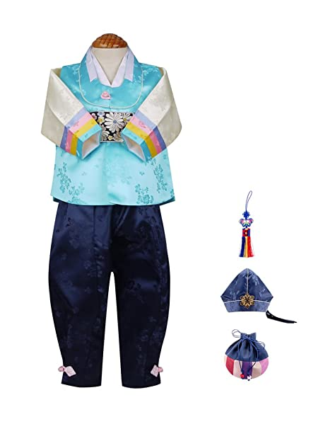 Skyroad Korean Traditional Hanbok Set for Baby Through Boy (Made in Korea)  (6 Items Total) (Dol Bok from Age 1 to 15)