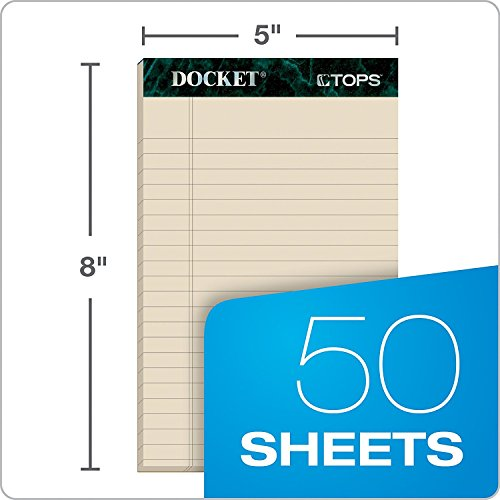 TOPS Docket 100% Recycled Writing Tablet, 5 x 8 Inches, Perforated, Assorted Colors, 50 Sheets per Pad, 6 Pads per Pack, 4 Packs, 24 Pads Total (99601) - Bundle Includes Universal Letter Opener by Tops (Image #2)