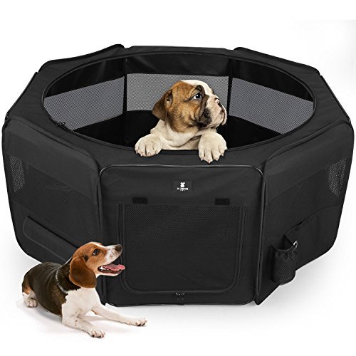 X-ZONE PET Black Playpen Portable Foldable Dog/Cat/Puppy Exercise Kennel The Best Indoor and Outdoor (Black Puppy Pen)
