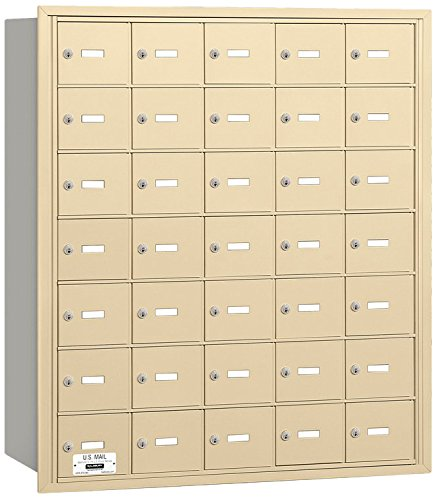 Salsbury Industries 3635SRU 4B Plus Horizontal Mailbox, 35 A Doors, Rear Loading, USPS Access, Sandstone