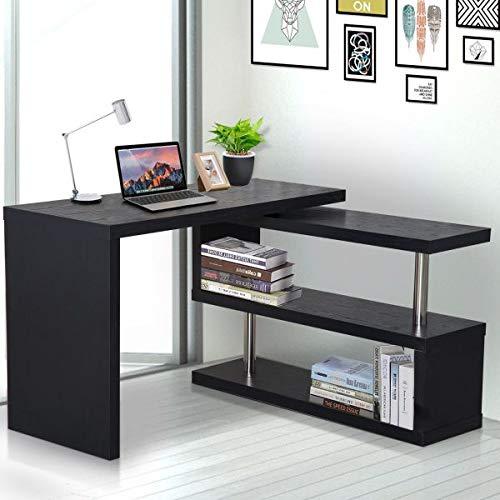 (Rotating L-Shaped Computer Office Desk Corner Bookshelf Modern Black Workstation Storage Shelves Space Saving Furniture Water-Resistant Desktop)