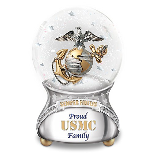 USMC Family Musical Glitter Globe with Marines Hymn