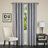 "Lorraine Set of 2 Room Darkening Energy Efficient Blackout Curtain Panels (52"" x 84"") with 8 Grommets - Silver"