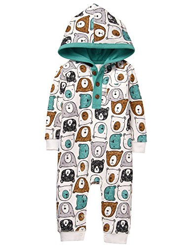 Gymboree Baby Boys Bear Face Hooded Onepiece, White Bear, 3-6 Mo (Baby Clothes Gymboree Boy)