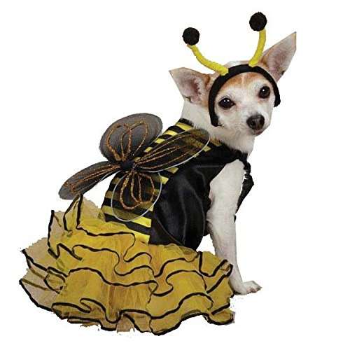 Dog Costume Closeout - xSmall Bee Mine Skirt Glitter Wing and Antenna Headband