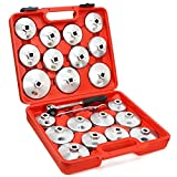 23pc Aluminum Alloy Cup Type Oil Filter Cap Wrench Socket Removal Set 1/2''Dr.
