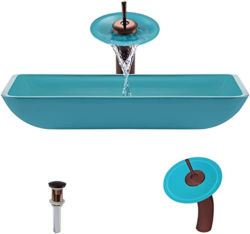 640 Turquoise Oil Rubbed Bronze Waterfall Faucet Bathroom Ensemble